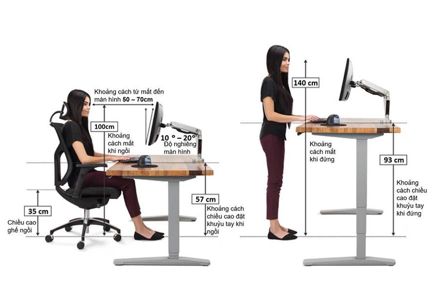 Vấn đề đau mỏi vai gáy sẽ không còn nữa khi sử dụng bàn đứng